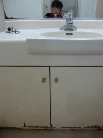 洗面台 扉修理前の写真